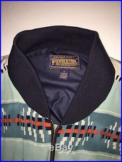 Pendleton Tribal Aztec Western Print Mens Varsity Jacket Coat Sz Large EUC RARE