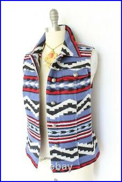 Pendleton Vest wool leather Aztec southwest Mexican Navajo blanket coat jacket