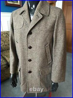 Pendleton Vintage Jacket 1960s Herringbone Car Coat Woolen Mills Western 40