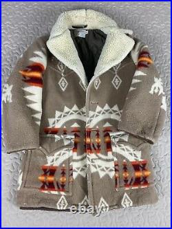 Pendleton Vintage Sherpa Wool Western Jacket Sz 40 Distressed 70s Coat