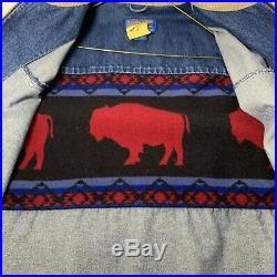 Pendleton Western Wear Mens S Denim Wool Southwestern Buffalo Jacket Blanket