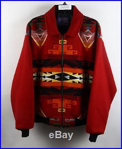 Pendleton Western Wear Red Wool-Blend Tribal Print Full-Zip Jacket XL