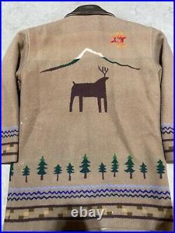 Pendleton Western wear Wool Blanket Coat Jacket Tan Long Sleeve Small Vintage
