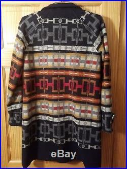 Pendleton Wool Wrap Western Long Jacket Indian Blanket Aztec Extra Small