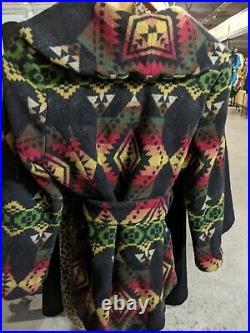 Pendleton wool Aztec southwest Mexican Navajo blanket wrap coat jacket XL