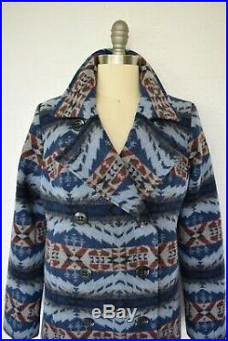 Pendleton wool blanket Aztec southwest Mexican peacoat jacket coat S
