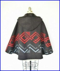 Pendleton wool blanket Aztec southwest toggle poncho cape jacket coat $458