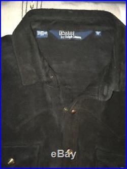 Polo Ralph Lauren Black Suede Leather Western Shirt Jacket XL RRL