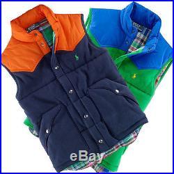 Polo Ralph Lauren Colorblocked Blue Green Premier Fleece Western Pony Vest $185+