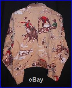 Polo Ralph Lauren Denim Jean Jacket Vintage Western Print Size Medium