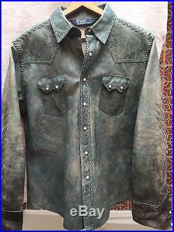 Polo Ralph Lauren Distressed Leather Shirt Jacket Western