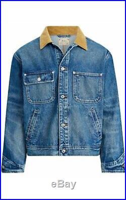 Polo Ralph Lauren Men Corduroy Collar Dungaree VTG Denim Trucker Jean Jacket XL