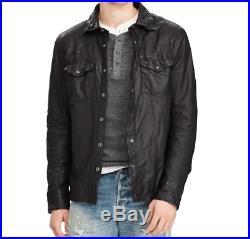 Polo Ralph Lauren Mens Black Vintage Genuine Leather Western Over Shirt Jacket