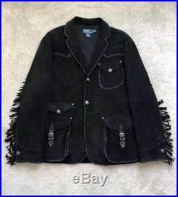 Polo Ralph Lauren PRL Western Style Black Suede Fringed/Whipstitched Jacket
