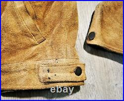 Polo Ralph Lauren Suede Leather Trucker Jacket Flannel Lined Western Coat RRL M