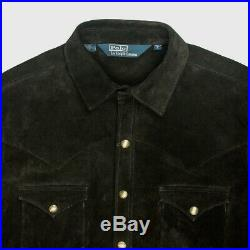 Polo Ralph Lauren western shirt style heavy suede leather jacket L BLACK