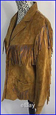 RALPH LAUREN Camel Brown Suede Leather Fringe South Western Jacket Coat RARE! 1X