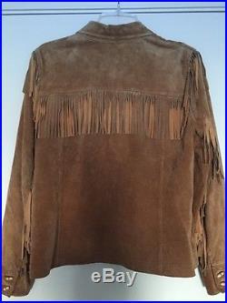 RALPH LAUREN Camel Brown Suede Leather Fringe South Western Jacket Coat Size PM