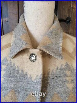 RALPH LAUREN South Western Indian Blanket Barn Concho Wool Coat Jacket L NWOT