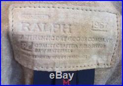 RALPH LAUREN Suede Southwestern Fringed Cowboy Jacket Turquoise Silver M USA