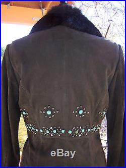 RARE$858Mahogany Western Leather Fur Turquoise Studded CoatSTasha Polizzi