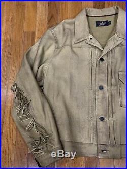 RARE NWT RRL Ralph Lauren Fringed Leather Jacket Tan XL $2200 Lambskin Cowboy