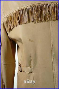 RARE RRL Ralph Lauren Fringed Leather Jacket Brown Tan Size M Medium