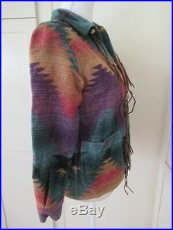 RARE Ralph Lauren Indian Blanket Jacket Southwest Navajo Aztec Fringe Coat P/S