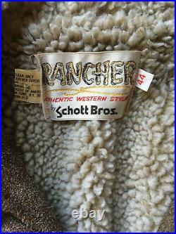 RARE! VTG SCHOTT WESTERN SUEDE SHERPA RANCHER JACKET 44 LARGE coat trucker