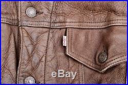 RARE Vintage LEVI'S Brown Cow Nubuck Leather Trucker Jacket Western Biker Large