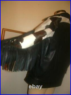 RARE Vintage Remy Leather Jacket Hair On Cow Fringe Coat women Size 40 M/L USA