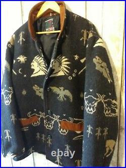 RARE Vintage Wool Aztec Navajo Western American Indian Geometric Retro Jacket L
