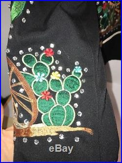 RARE! Western Embroidered Horse Cactus Rhinestone Jacket10Hairston Roberson