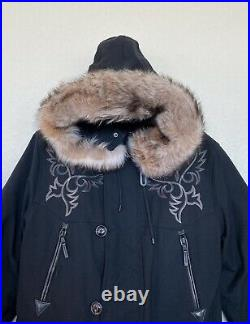 RLX Ralph Lauren Mens Western Faux Fur Down Ski Jacket Coat Black Leather Trim
