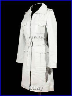 ROXA Women's Genuine Leather Pure Soft Lambskin Long Overcoat Trench White Coat