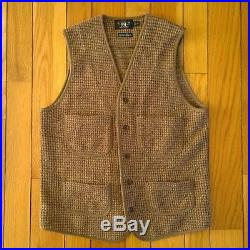 RRL Double RL Ralph Lauren Men Linen Wool Tweed Buckle Work Vest M Brown
