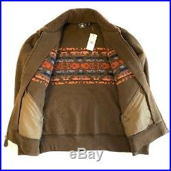 RRL Double RL Ralph Lauren Mens Fleece Western Print Zip Coat Jacket (MSRP $395)