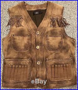 RRL Ralph Lauren Double RL Western Hunting Deerskin Leather Vest Jacket Large L
