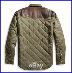 RRL Ralph Lauren Leather Yoke Green Western Overshirt Jacket-MEN- S