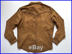RRL Ralph Lauren Limited Edition Western Suede Leather Shirt Jacket-MEN- XL