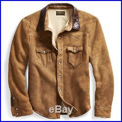 RRL Ralph Lauren Tan Shearling Lined Sheepskin Western Leather Jacket Men's 2XL