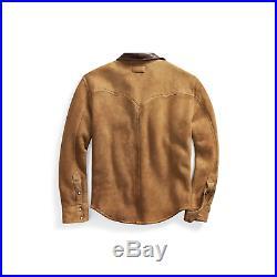 RRL Ralph Lauren Tan Sherpa Lined Sheepskin Western Leather Jacket Men's S