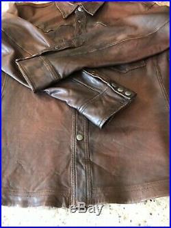 Ralph Lauren Black Label Mens Distressed Brown Leather Western Shirt XXL