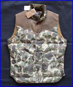 Ralph Lauren RRL DOUBLE RL Suede-yoke Camo Down Vest Gr M