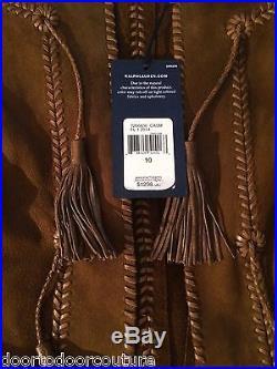 Ralph Lauren coat spring suede brown jacket fringe runway south western 1095 nwt