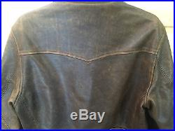 Rare' Polo Ralph Lauren Western Style Trim Distressed Leather Jacket Sz. Small