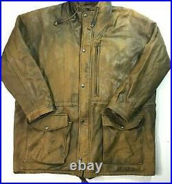 Rare VTG Polo Ralph Lauren L Mens Hooded Hickory Lambskin Leather Field Jacket