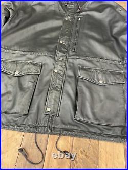 Rare VTG Polo Ralph Lauren Large Mens Hooded Black Lambskin Leather Field Jacket