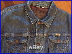 Rare Vtg Wrangler Blue Bell Sanforized Jacket Western L Men Sport Denim 50s 60s