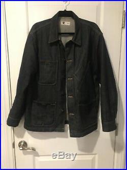 Raw Selvedge Denim Jean Jacket Coat Levis Western Off White Carhartt Vintage